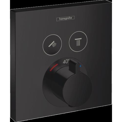 Termostaadiga vannisegisti Select 2-väljundit, must matt