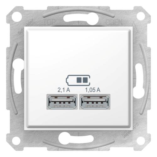 USB 2-ne pesa 2,1A valge Sedna