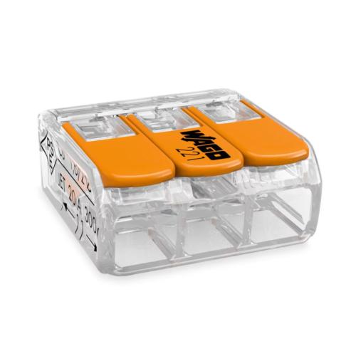 Klemm Wago 3-ne avatav 0,2-4mm 50tk pk läbipaistev