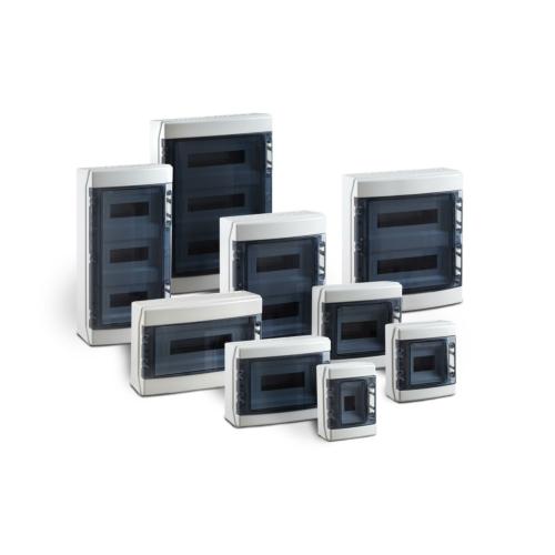Pinnapealne jaotuskilp MODAB41PN, 1x4 moodulit, IP65, ABS, uks suitsuklaas, Ensto Modulo