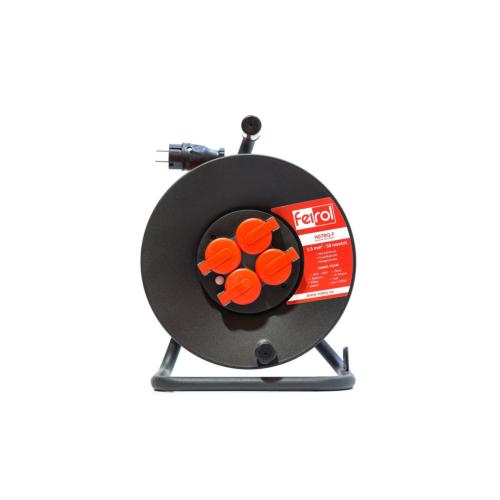Rullpikendus H07BQ-F 3G1,5 50m metall trumlil, 4x220 pistikupesa, oranz kaabel, Feirol