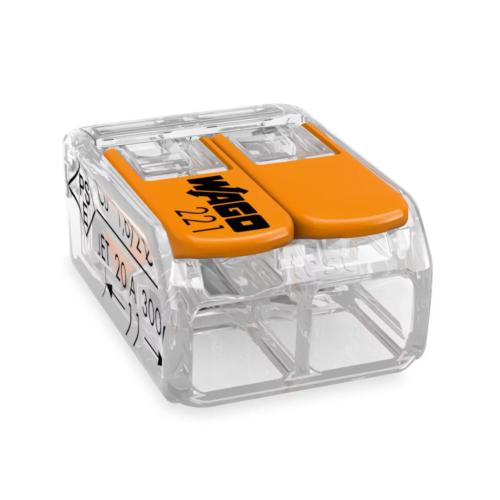 Klemm Wago 2-ne avatav 0,2-4mm 100tk pk läbipaistev