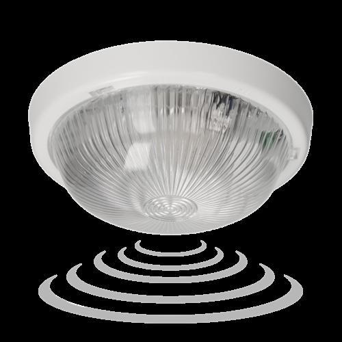 Plafoon sensoriga 360°, E27 max 100W, läbipaistev klaas, IP44, Orno
