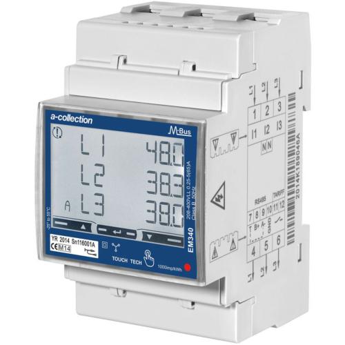 Elektriarvesti EM340, 3 faasliline, 2-tariifne, M-Bus väljund, MID sert, DIN-liistule, A-Collection