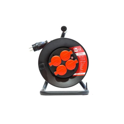 Rullpikendus H07BQ-F 3G1,5 25m metall trumlil, 4x220 pistikupesa, oranz kaabel, Feirol