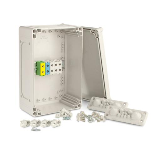 Karp Cubo T2, komplektne, 200x300x132mm, ühendusklemmidega 5xAl/Cu 6-35mm2, hall, IP67, Ensto