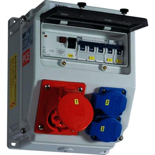 Vooluvõtukeskus 5P16A jõupesa + 2x230V Schuko pesa, otse ühendusega sisend, PCE LOFER