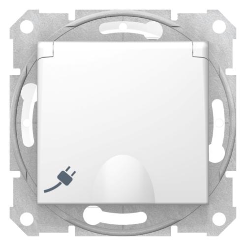 Pistikupesa süv. maandusega IP44 kaanega valge Sedna