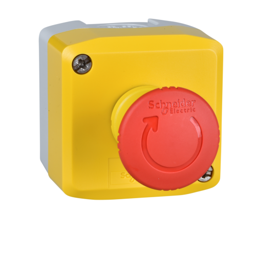 Hädastopp nupp punane kollane karp IP66 1NO+1NC