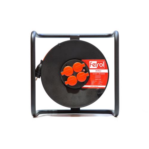 Rullpikendus H07BQ-F 3G2,5 50m metall trumlil, 4x220 pistikupesa, oranz kaabel, Feirol