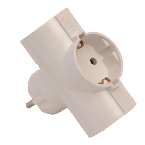 Harupesa 3-ne valge plast 3x16A maandusega