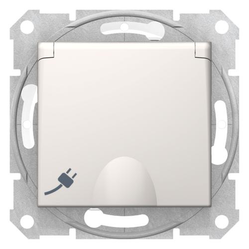 Pistikupesa süvistatav, maandusega IP44, kaanega, kreem Sedna