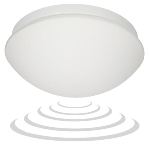 Plafoon sensoriga 360°, 3-2000lux, Ø275mm, E27, max 60W, valge matt klaas, IP44, Orno MARIN