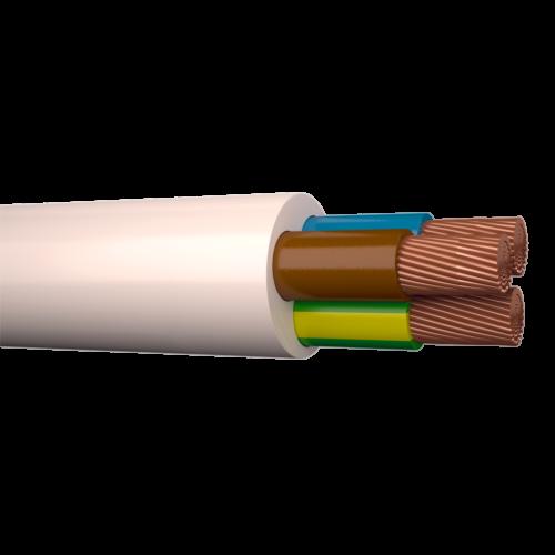 Kiuline kaabel H05VV-F ümar 3G0,75, valge, 100m rullis, Draka