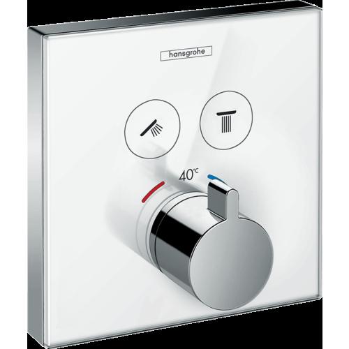 Vannitermostaat Select klaas, valge/kroom