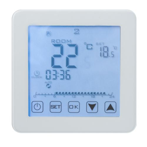 Termostaat põrand/õhk 16A 220V puutet. digit. valge