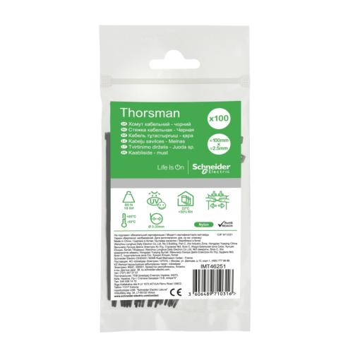 Juhtmeside 100x2.5 must 100tk pakis, Thorsman