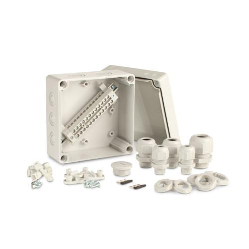 Karp Cubo T1, komplektne, 125x125x75mm, klemmliistuga Cu12x0.75..6mm2, hall, IP67, Ensto