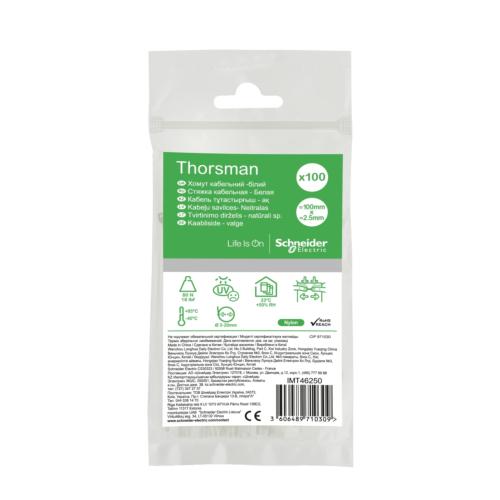 Juhtmeside 100x2.5 valge 100tk pakis, Thorsman