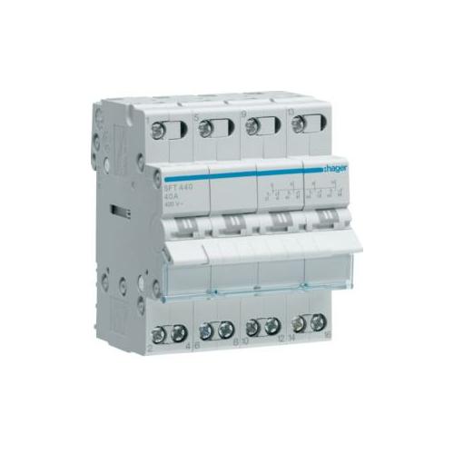 Ümberlüliti I-O-II 4P 40A 230VAC, 4mod Hager