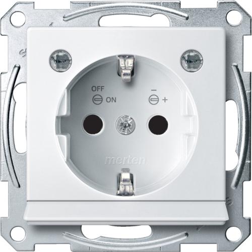 1-ne pistikupesa maandusega, LED tule +hämaraanduriga, polaarvalge, Schneider Merten System M