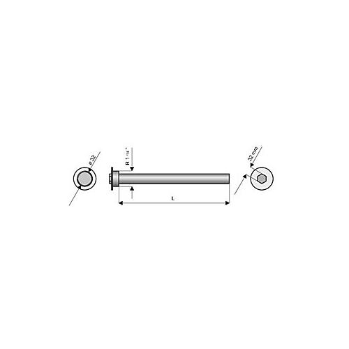 "Anood 1 1/4"" 600mm boilerilem SWP2N 400, 500"