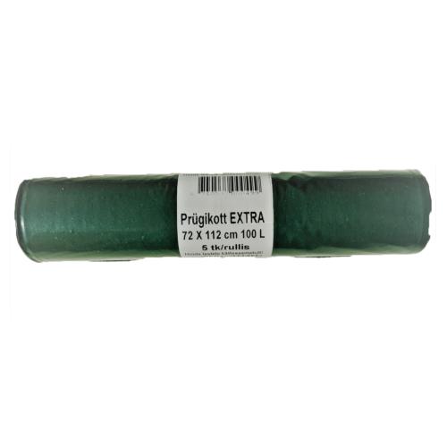 Prügikott 100L roheline tugev LDPE 5tk/rullis